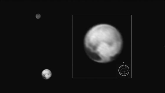 This image of Pluto and its big moon Charon was taken by NASA's New Horizons spacecraft at 04:15 (UTC) on July 1, 2015, and shows the clearest view yet of the sides of Pluto and Charon that will be studied in great detail during New Horizons' closest approach to the dwarf planet on July 14, 2015. There will be just two more rotations of Pluto and Charon, and two more orbits about their mutual center of gravity, between the time of this image and closest approach (the rotation period of the system is 6.4 days). The image, which has been sharpened by the image processing technique known as deconvolution, shows details as small as about 160 kilometers (100 miles). The highest-resolution images of this side of Pluto, taken on July 14, will show details that are 1,000 times smaller.