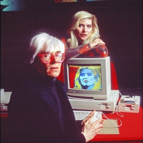 Andy Warhol and Debbie Harry introducing the Amiga 1000