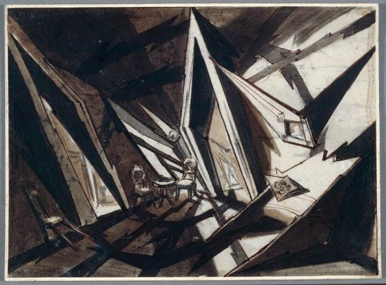 Andrei Andrejew (Russia, 1887–1966) Set design drawing for Crime and Punishment (Raskolnikow), 1923 Director: Robert Wiene (Germany, 1873–1938) Ink and ink wash Collection of La Cinémathèque française, D082-37