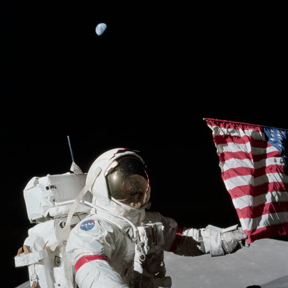 Apollo 17 Commander Eugene Cernan and the U.S. flag on the lunar surface. Credits: NASA