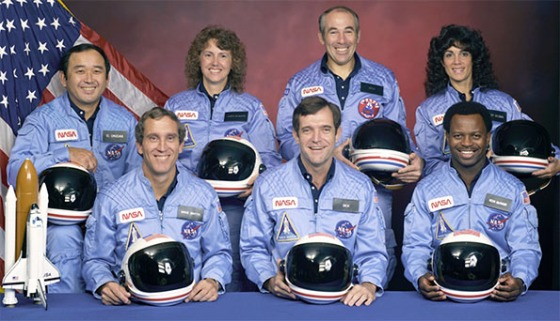 STS-51-L crew: (front row) Michael J. Smith, Dick Scobee, Ronald McNair; (back row) Ellison Onizuka, Christa McAuliffe, Gregory Jarvis, Judith Resnik. (NASA image)
